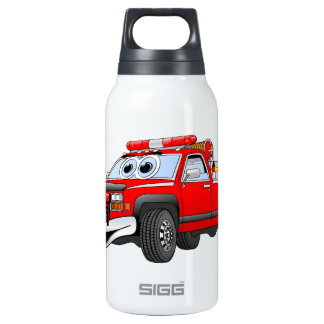 Pegare desenhos animados do carro de bombeiros garrafa de água térmica