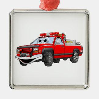 Pegare desenhos animados do carro de bombeiros ornamento quadrado cor prata