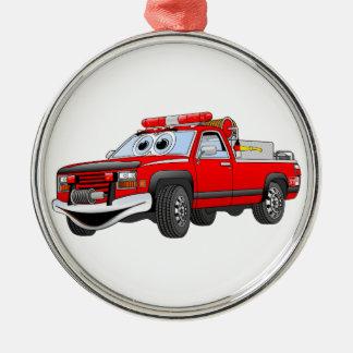 Pegare desenhos animados do carro de bombeiros ornamento redondo cor prata