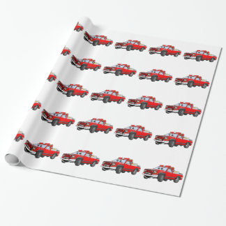 Pegare desenhos animados do carro de bombeiros papel para presentes