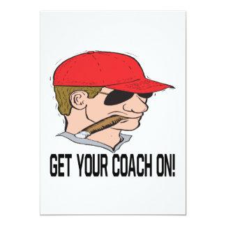 Pegue seu treinador sobre convite 12.7 x 17.78cm