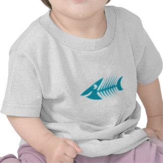 Peixe desenho em espinha pescas bones tshirt