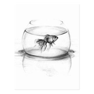 Peixe dourado em um cartão da arte do lápis da