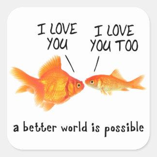 Peixe dourado no amor mim coração você adesivo quadrado