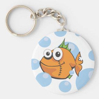 Peixe dourado resistente dos desenhos animados chaveiro