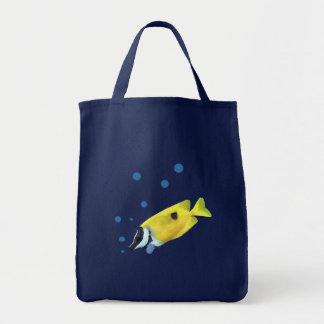 Peixes amarelos sacola tote de mercado