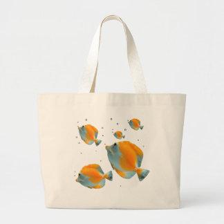 Peixes amarelos originais vibrantes exóticos sacola tote jumbo