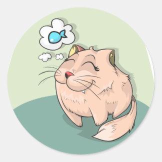 Peixes animais do gato que pensam o animal de adesivo redondo