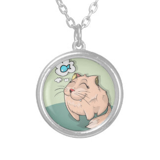 Peixes animais do gato que pensam o animal de colar banhado a prata