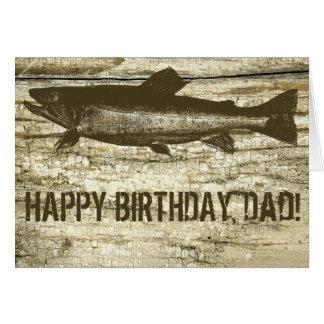 Peixes antigos no aniversário do conselho de corte cartão comemorativo