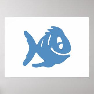Peixes azuis dos desenhos animados impressão