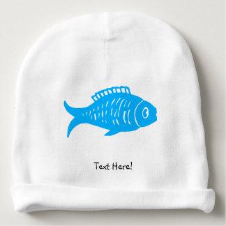 Peixes azuis gorro para bebê