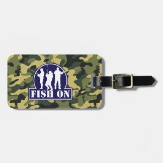"""""""Peixes azuis"""" no logotipo da pesca na camuflagem Etiquetas De Malas De Viagem"""