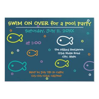 Peixes & bolhas - convite da festa na piscina