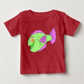 Peixes coloridos bonitos dos desenhos animados camiseta para bebê
