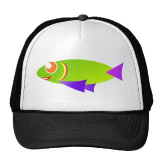 peixes coloridos dos desenhos animados do fish-car bonés