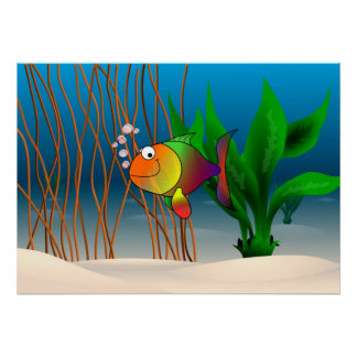 Peixes coloridos e bonitos dos desenhos animados poster