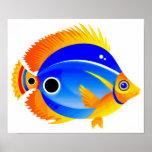 Peixes das bolinhas em azul & em alaranjado pôsteres