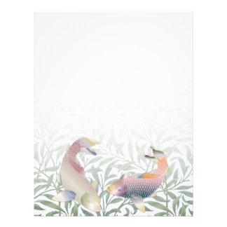 Peixes de Koi do arco-íris & papel de carta verde