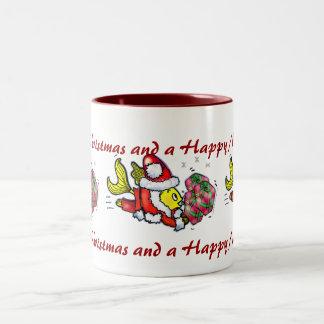 Peixes de Papai Noel - desenhos animados bonitos Caneca Dois Tons