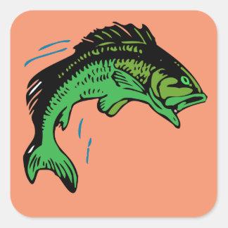 Peixes de salto adesivo quadrado