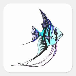 Peixes do anjo adesivos quadrados