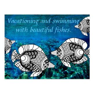 Peixes do anjo e cartão subaquático do oceano