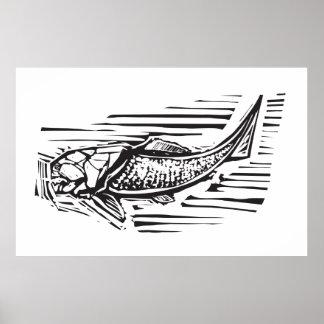 Peixes do fóssil de Dunkleosteus Pôsteres
