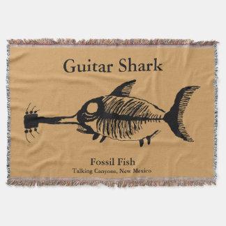 Peixes do fóssil do tubarão da guitarra throw blanket