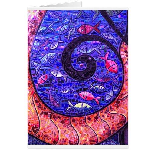 Peixes do mosaico cartoes