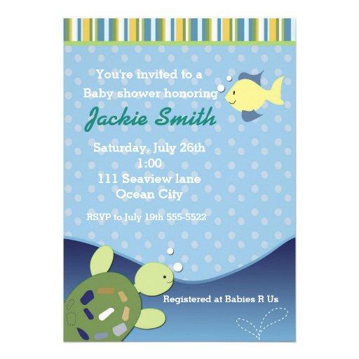 Peixes do recife da tartaruga sob o convite do chá