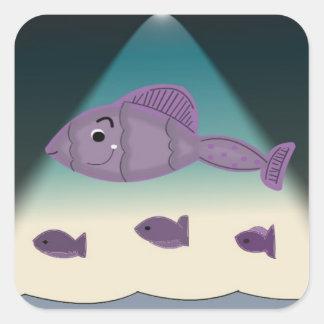 Peixes dos desenhos animados adesivo quadrado