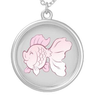 Peixes dos desenhos animados colar com pendente redondo
