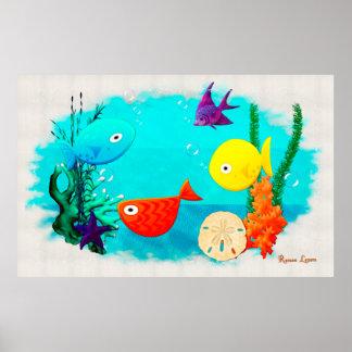 Peixes dos desenhos animados do aquário da rareza pôsteres