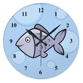 Peixes dos desenhos animados do divertimento relógio de parede