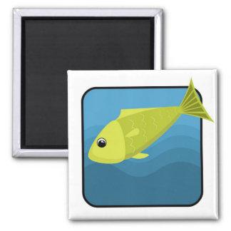 Peixes dos desenhos animados ímã quadrado