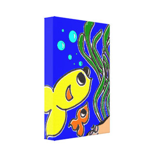 peixes dos desenhos animados impressão em tela