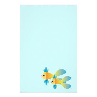 Peixes dos desenhos animados papelaria