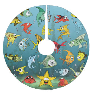 Peixes dos desenhos animados subaquáticos saia para árvore de natal de poliéster