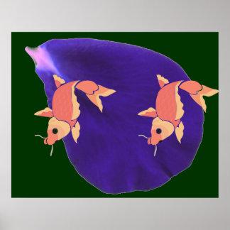 Peixes em uma lagoa:  Truques da arte da pétala Poster