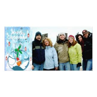 Peixes ensacados Slpat & Feliz Natal do floco de Cartão Com Foto