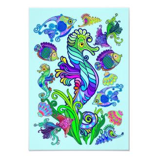 Peixes exóticos & cavalos marinhos da vida marinha convite 8.89 x 12.7cm