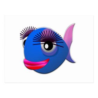 Peixes grandes dos desenhos animados das pestanas cartoes postais