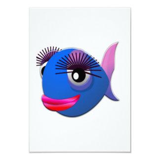 Peixes grandes dos desenhos animados das pestanas convite personalizados