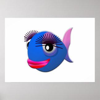 Peixes grandes dos desenhos animados das pestanas poster