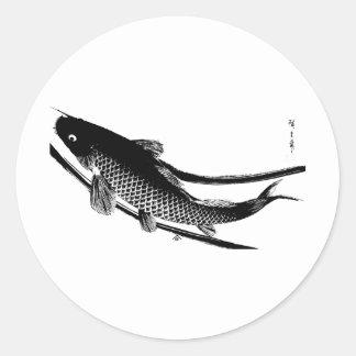Peixes japoneses adesivos redondos