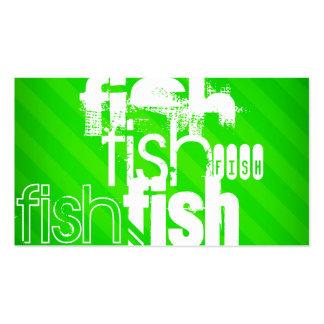 Peixes; Listras verdes de néon Cartão De Visita