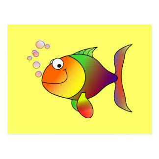 Peixes: Peixes coloridos dos desenhos animados Cartão Postal
