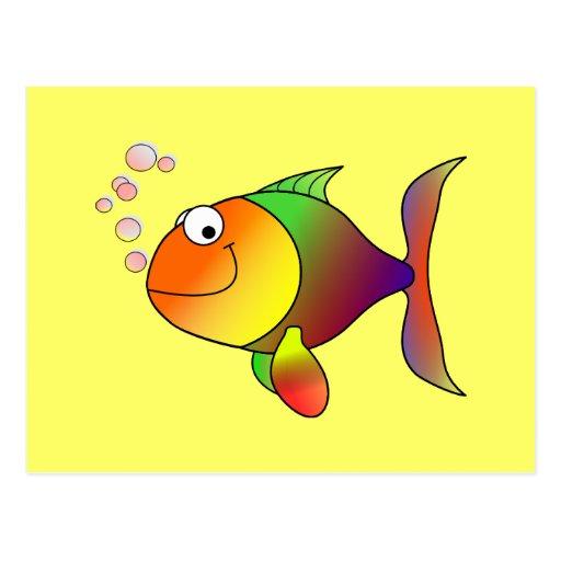 Peixes: Peixes coloridos dos desenhos animados Cartoes Postais