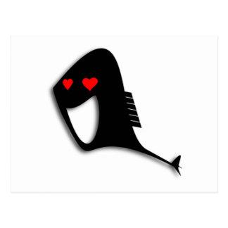 Peixes pretos em desenhos animados do amor cartao postal